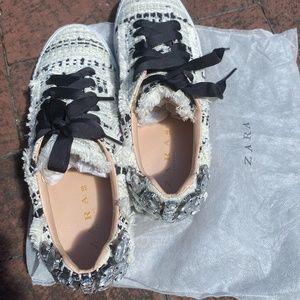 Zara tweed and rhinestone sneakers